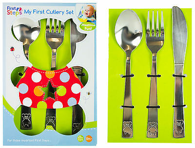 My First Cutlery Set 3pc Knife Fork Spoon Stainless Steel Kids Baby Children New