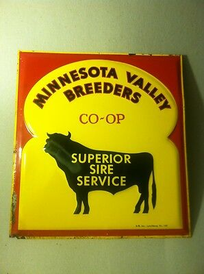 Minnesota Valley Breeders Tin advertising Co-op Superior Sire Service sign Bull