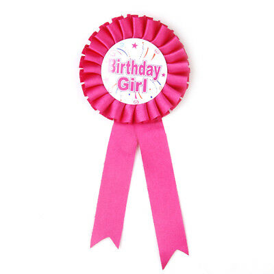 Fuchsia Birthday Girl Award Ribbon Rosette Badge Pin Children's Party Favors
