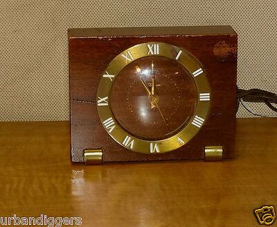 806/ Antique  Art Deco TELECHRON  WOOD Electric WALL CLOCK w/ Alarm ~ WORKS