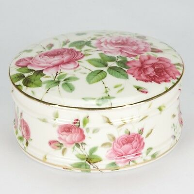 Vintage style porcelain Rose Powder trinket Box shabby chic cover jar pink NEW