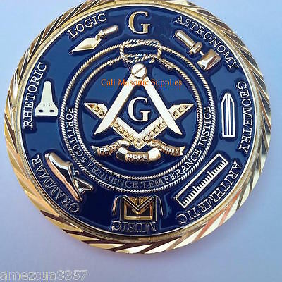 "Freemasons Masonic 2"" Challenge Coin Golden 3D Design With Case Nice Mason Gift"