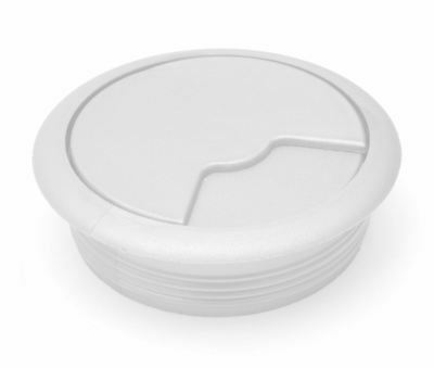 60mm White PC Computer Desk Plastic Grommet Table Cable Tidy Wire Hole Cover
