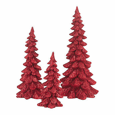 Dept 56 Red Holiday Resin Trees Set of 3 4047558 D56 NEW Christmas Village 2015