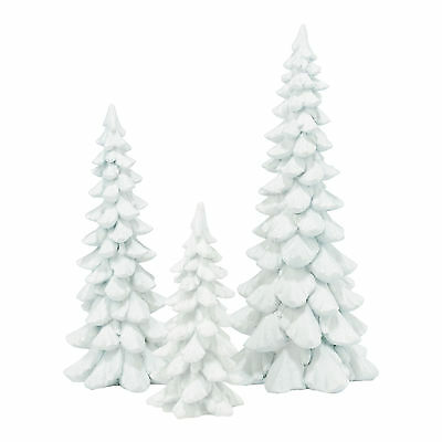 Dept 56 White Holiday Resin Trees Set of 3 4047561 NEW Christmas Village 2015