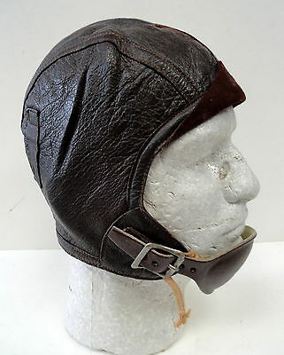 WWII NAVY GOATSKIN TYPE 1092 LEATHER FLYING HELMET W/CHIN CUP