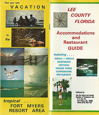 Lee County FL Vintage Travel Brochure 1975 Accommodations & Restaurant Guide
