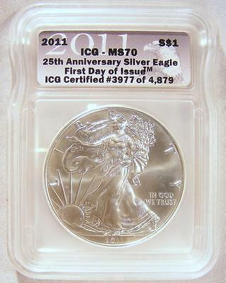 ICG MS70 FIRST DAY OF ISSUE 2011 25th ANNIV. American Silver Eagle PERFECT COIN