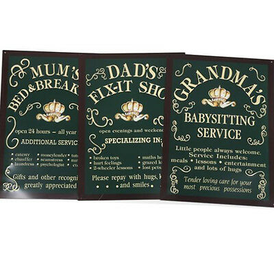 Family Wall Plaque Metal Tin Gift Funny Quotes Decor Home Hanging Verse Retro