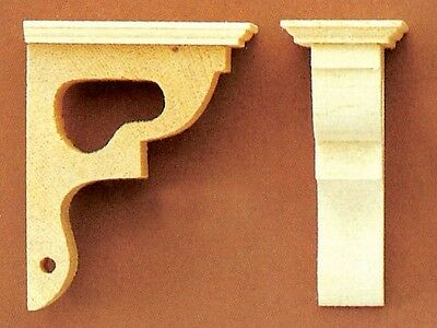 Pair of Wooden Brackets, Doll House Miniature DIY Fixtures & Fittings 1.12 Scale