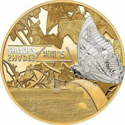 BUTTERFLY Shades of Nature Silver Coin 5$ Cook Islands 2015