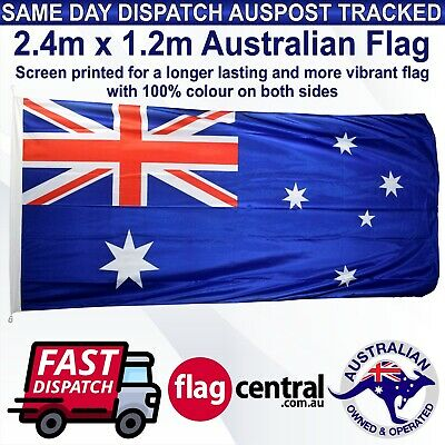 Australian Flag Heavy Duty Large 2.4m x 1.2m *Tracked Shipping *Outdoor *Aussie