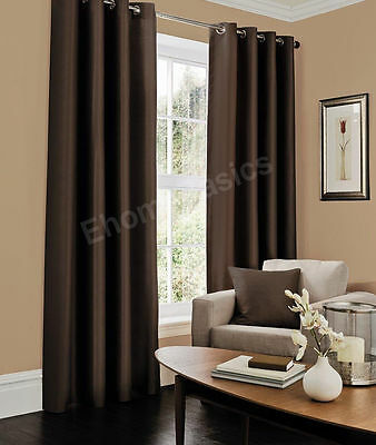Chocolate Luxury Faux Silk Eyelet Fully Lined Pair Of Curtains With Tie Backs
