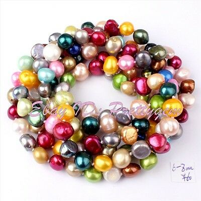 """6-8mm Freeform Multicolor Natural Freshwater Pearl Necklace 40"""" (NO Button)"""