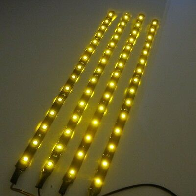 4x 30cm 15LED SMD 3528 Yellow Flexible Led Strip Light Waterproof DC12V Car Auto