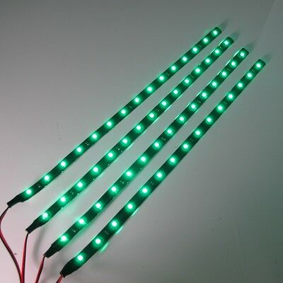 4x 30cm/15LED SMD 3528 Green Flexible Led Strip Light Waterproof DC 12V Car Auto