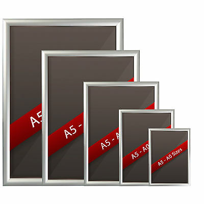 Silver Snap Frames Picture Poster Holders Clip Displays Retail Wall Notice Board