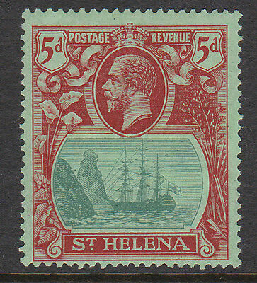 ST HELENA 1922 5d DEEP CARMINE WITH CLEFT ROCK VARIETY SG 103c MINT.