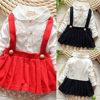 CUTE Kids Baby Girl Long Sleeve Pleated Suspender Dress Princess Party Dress A55