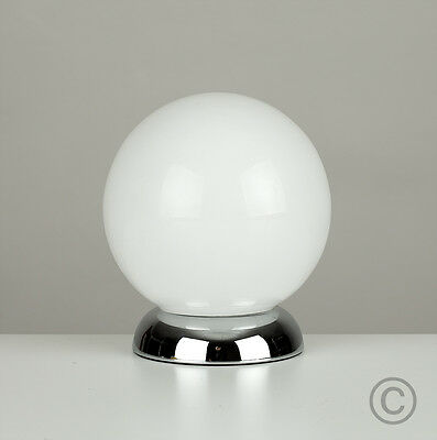 Modern Silver Chrome & White Glass Globe Touch / Bedside Table Lamp Lights Lamps