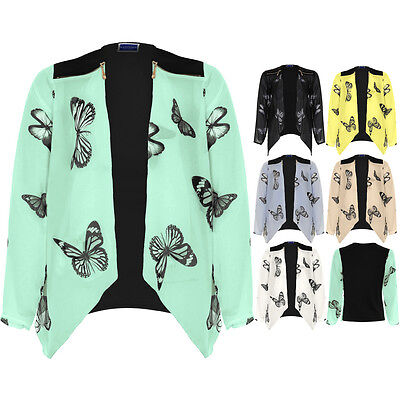 Womens Butterfly Print Waterfall Open Front Zip Detail Chiffon Kimono Blazer Top