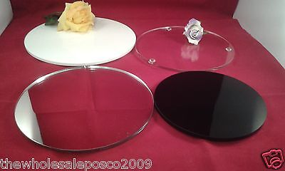 Acrylic Wedding Cake Board Display Stand Round Plastic Clear White Mirror Black