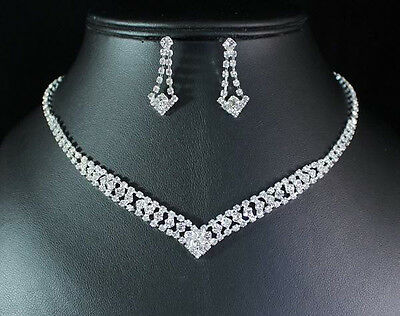 V Shape Clear Austrian Rhinestone Crystal Necklace Earrings Set Wedding N1729