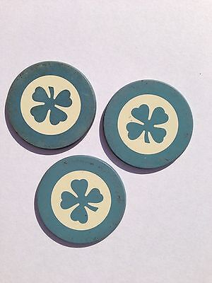 3 Antique Light Blue Four Leaf Clover Poker Chips