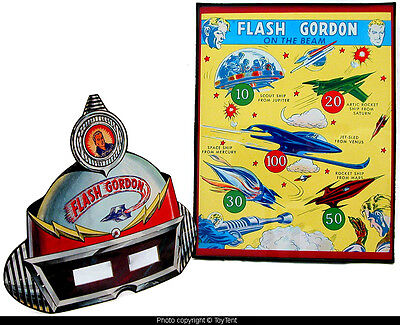 Flash Gordon paper space mask with mirror lenses and target poster framed