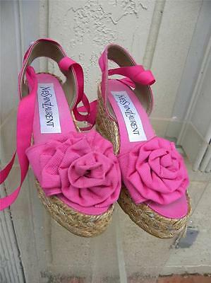 ace71f7eb22 Yves Saint Laurent Hot Pink Espadrille Ankle Straps Wedge Sandals W rose Sz  6 B