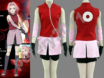 Naruto Haruno Sakura Cosplay Costume Girl Women Halloween