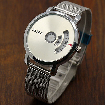 Quartz Wrist Watch Stainless Steel Mesh PAIDU Turntable Dial Grey/Silver Dial