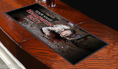 PERSONALISED HALLOWEEN ZOMBIE V1 Bar Towel Runner Pub Mat Beer Cocktail Party