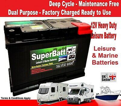 12V 110AH Leisure / Marine Battery Low Height / Low Profile - SuperBatt LH110