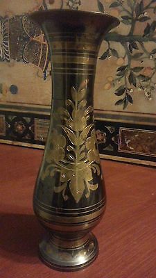 Antique Indian engraved brass metal vase