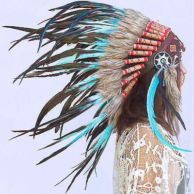 SALE PRICE!!! Feather Headdress -Native American Indian style- Turquoise Rooster