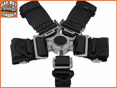 Black Sports Seat Belt 5 Point Racing Harness Kit Quick Release