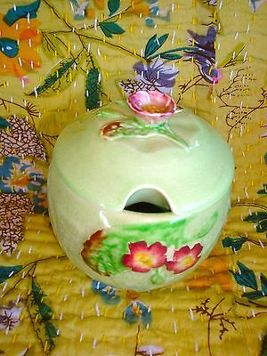 Vintage Carlton Ware Jam Pot Green Apple Blossoms Floral Made in England