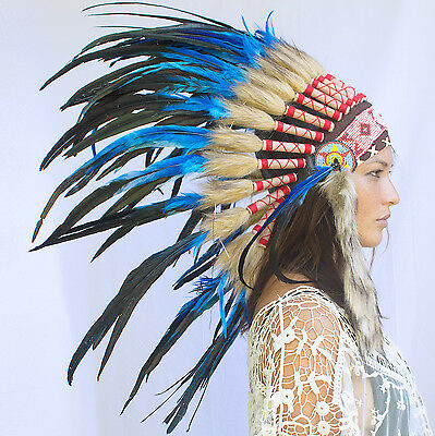 Feather Headdress - Native American Indian style - Dark Blue Rooster