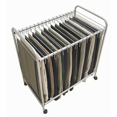 Rolling Pants Trolley Hanger Slacks Organizer Rack Organize Clothes Dress 18pr