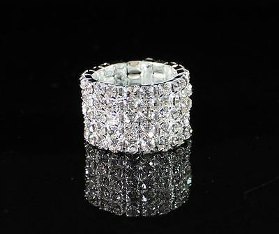 Vegas Clear Austrian Rhinestone Crystal Stretch Ring 5-Row Party Silver Plated