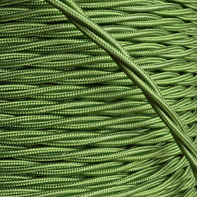 Braided Cloth Twisted Wire Flex 3Core 6Amp Double Insulated in Green