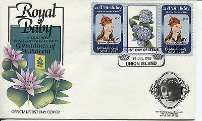 1982 GRENADINES OF ST VINCENT BIRTH OF WILLIAM STAMP OFFICIAL CACHET UNADDR FDC