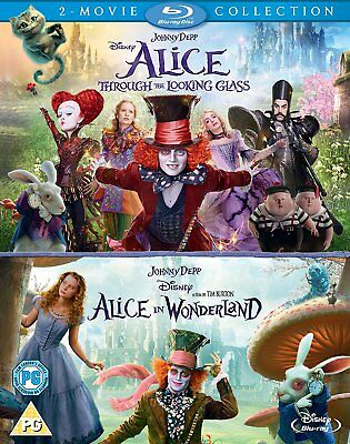Alice (2010+2016) In Wonderland + Through The Looking Glass - Double Blu-Ray New