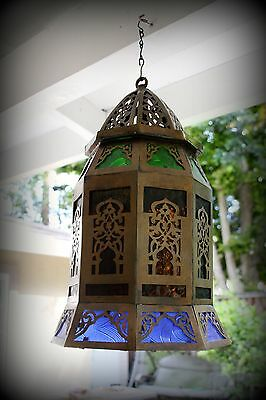 Antique Vintage Old Heavy Filigree Solid Bronze Lantern Chandelier Hanging Lamp