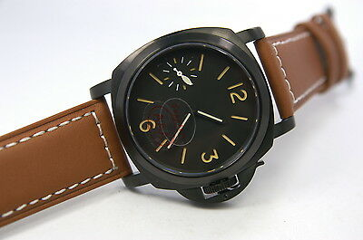 Parnis Military Orange Sandwich Dial Pvd Hand Winding Brown Leather Sapphire