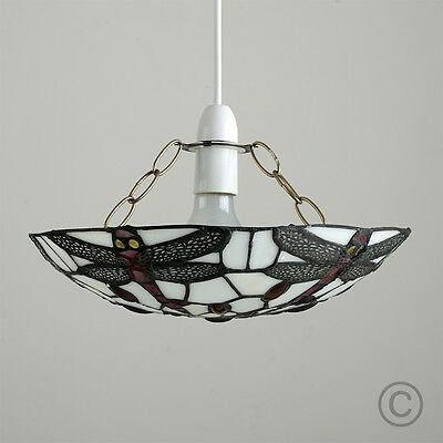 Vintage Style Mosaic Dragonfly Stained Glass Ceiling Light Pendant Shade Home