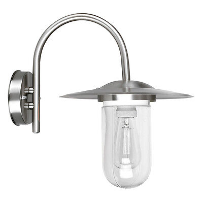 Contemporary Brushed Chrome & Glass Outdoor Swan Neck Wall Light Lantern IP44