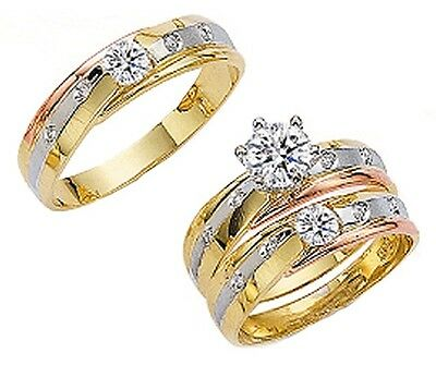 His & Her 10k Solid Tricolor Gold Trio Wedding Ring Band Set Size 5-13 Free Ship