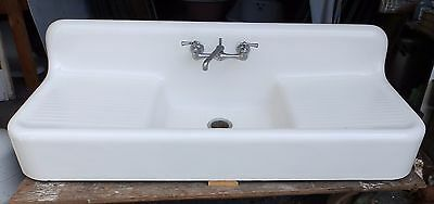 Antique Cast Iron White Porcelain Double Drainboard Farm Sink Old Vtg 4601-15
